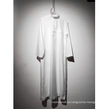 Túnica musulmana blanca de manga larga con cuello redondo para hombre
