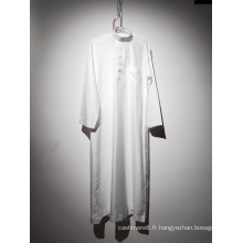 Robe musulmane blanche à manches longues et col rond pour hommes