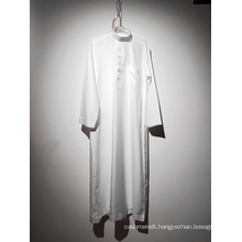 Men's Round Neck Long Sleeve White Muslim Robe