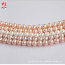 9-10mm 100% véritable fil de perles d'eau douce