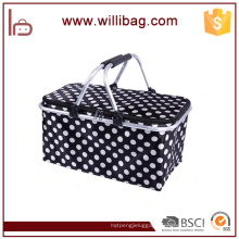 Folding Insulated Cooler Basket Bag Outdoor Picnic Basket