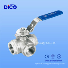 Stainless Steel 3 Way Ball Valve with Locking Handle (Q15F-16P)
