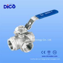 Aço inoxidável Válvula de esfera de 3 vias com alavanca de travamento (Q15F-16P)