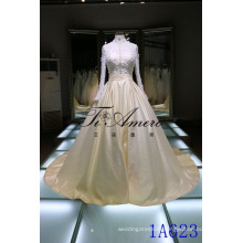 Vintage Long Sleeve Ball Gown Wedding Dress with Chapel Train