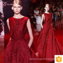 Alibaba Sexy Luxo Suzhou Open Back Vinho Vermelho Puffy Prom Dress Long Evening Dresses 2017