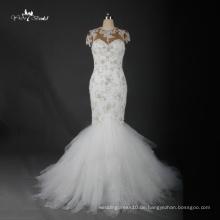 TW0176 schwere bördelnde Luxus-Kappen-Hülsen-Nixe-Hochzeits-Kleid