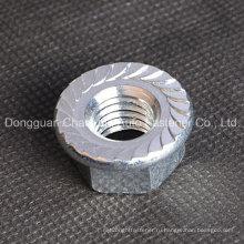 Шестигранная шестигранная гайка из мягкой стали с зубцами