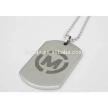 5x3cm Silver Tone aço inoxidável Retângulo em branco pingente Dog Tag
