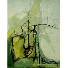 Pintura al óleo abstracta hecha a mano en lona