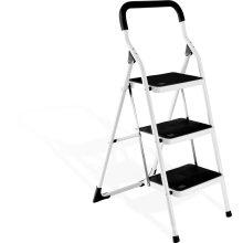 Escalera de acero plegable compacta de 3 pasos, escalera de acero plegable, escalera de paso estable hecha en China
