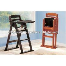 Silla de bebé plegable del bebé, silla de alimentación de madera del bebé