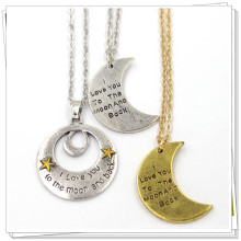 Silver Gold Custom Moon Shape Fashion Jewelry Stainless Necklace