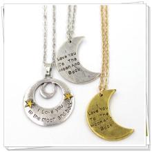 Серебряное золото Пользовательские формы луны ювелирные изделия из нержавеющей стали ожерелье