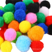 Factory direct sale colorful plush ball diy polyester pompoms for parent-child education