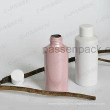 Botella cosmética de aluminio coloreada con el casquillo de plástico blanco del tornillo (hombro plano)