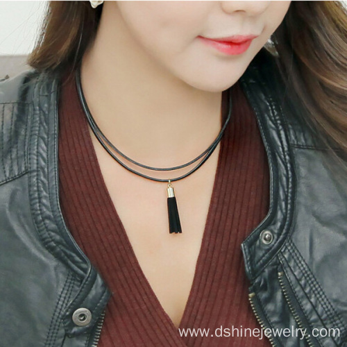 Double Layered leather necklaces with tassel charm necklace