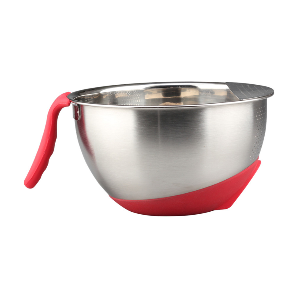 Satin Polishing Colander With Long Red Handle
