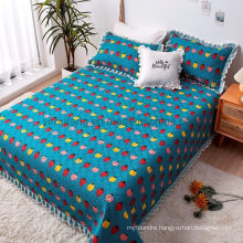 Hotel Textile Dark Cyan Quilt Bedspread Sets Full Size Lightweight for Spring and Summer
