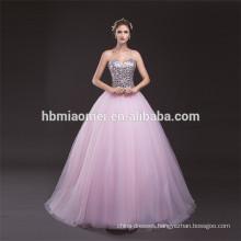 Trade Assurance Brilliant Romantic Light Pink Sparkle Sequins Chiffon Puffy Floor Length Sexy Back Open Evening Dress