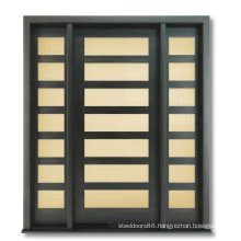 Contemporary Style Exterior Solid Wooden Door with Glass