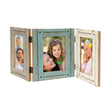 Custom New Design Rustic Wood Holds three  4x6 Picture Photo Frame Distressed photos Display Case