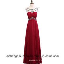 Burgund Lange Perlen Sexy Abendkleid Elegant Prom Kleider