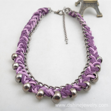 Velvet Weaved Collar Personalized Necklaces With Silver Bead