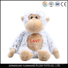 """10 """"macaco branco recheado com tecido de pelúcia macia amo brinquedo de pelúcia"""