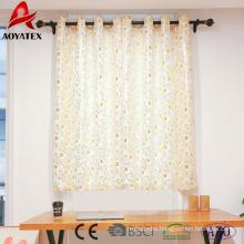 New design foil leaf printed linen window curtains for living room