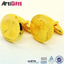 Promotional metal gold purple hourglass cufflinks