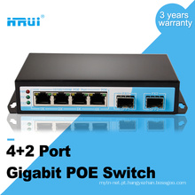 1000M 48V 2 sfp 4 porta de energia sobre ethernet poe switch