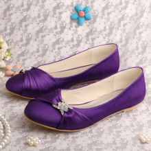 Purple+Bridal+Shoes+Flats+Closed+Toe