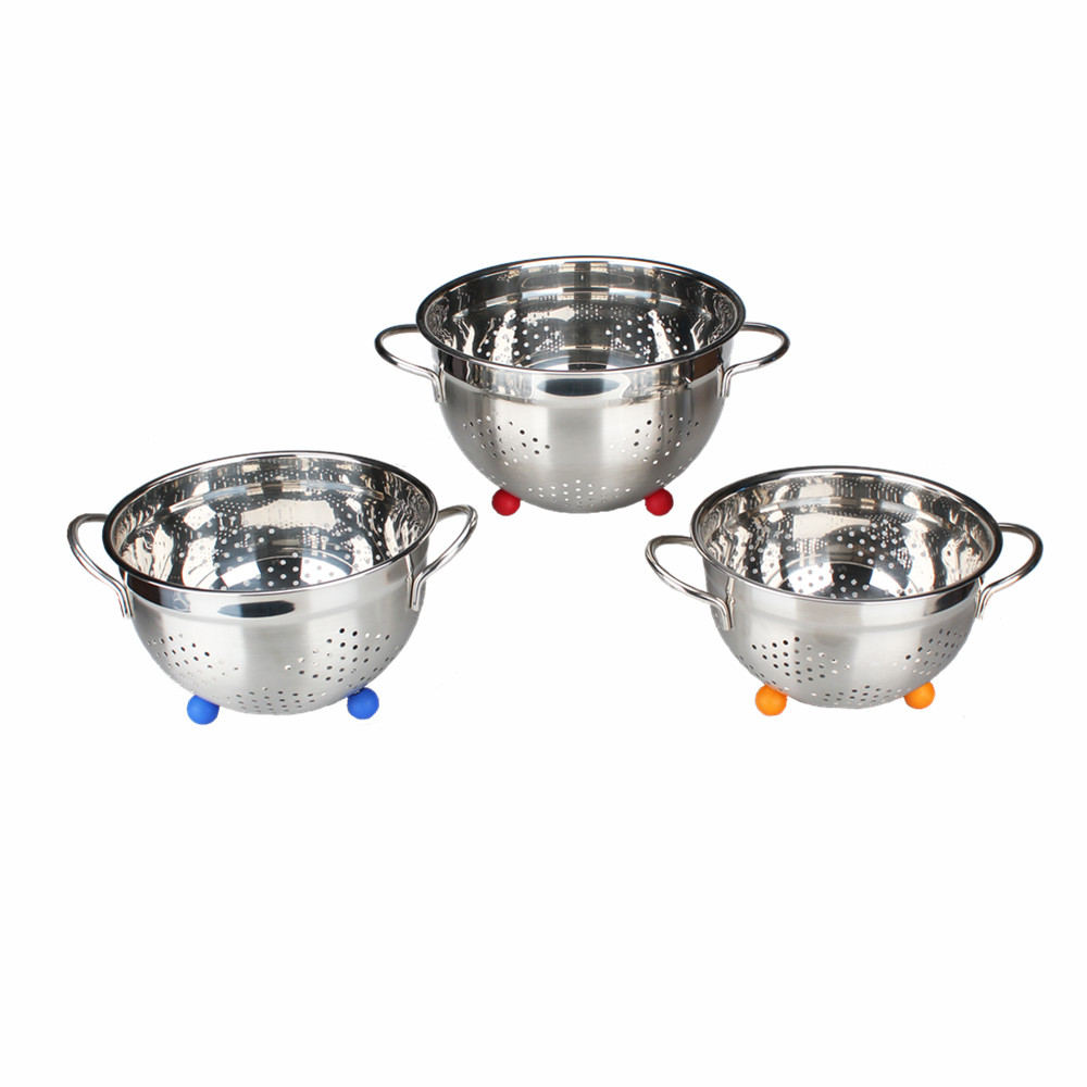 Stainless Steel Colander With Blue Ball Stand