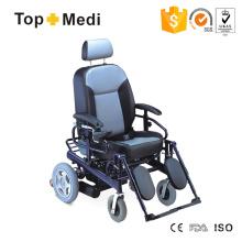 Cadeira de rodas elétrica de aço com assento alto em PU com encosto reclinável
