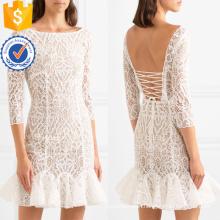 White Ruffled Lace Three Quarter Length Sleeve Mini Summer Dress Manufacture Wholesale Fashion Women Apparel (TA0333D)