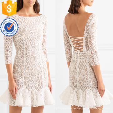 Weiß gekräuselte Spitze drei Viertel Länge Ärmel Mini Sommerkleid Herstellung Großhandel Mode Frauen Bekleidung (TA0333D)