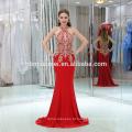 Nova chegada sexy halter cor vermelha mangas longas mulheres maxi vestido de noite