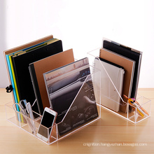 Clear Perpex Plexiglass 4 Section Office Stand Box Accessories Divider Acrylic Desk Organizer