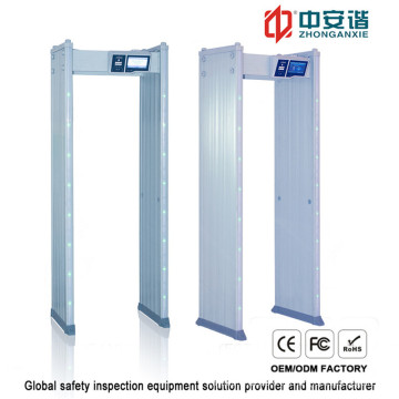 18 zonas de detección impermeable detector de metales de marco de puerta con mando a distancia móvil