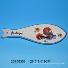 Morden pescado patrón de cuchara de cerámica resto con calcomanía