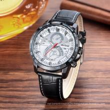 Мода Многофункциональный наручные часы 42 мм металлический корпус Кожаный ремешок