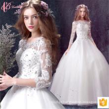 2017 Alibaba Bridal Wedding Dresses Vestidos Beaded manga comprida para venda