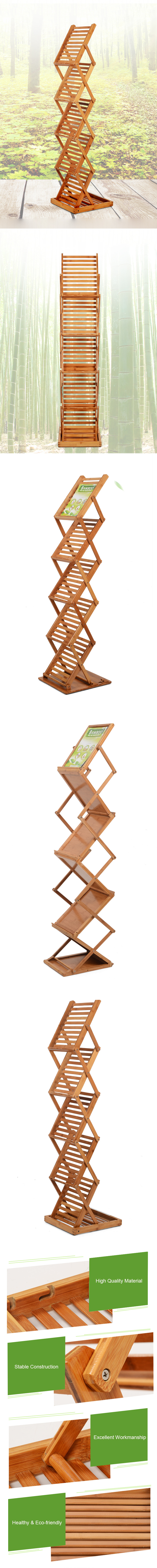 Bamboo Foldable Magzine Display Stand