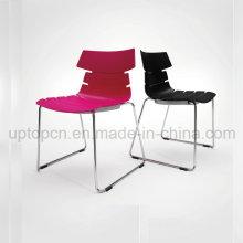 Оптовая Цвет настраиваемый пластиковый стул с хромированной стальной след ноги (СП-UC493)
