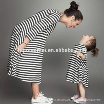 Kinder Kleider designt hochwertige Baumwolle gestreiften Kleid Mama und mich Kleidung mit langen Ärmeln