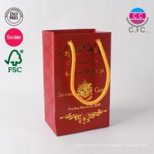 новый дизайн Китай завод красный мода торговый бумажный мешок с ручкой