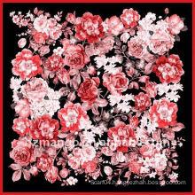 100% silk square scarves with flower digital print