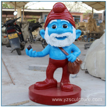 Outdoor Life Size Fberglass  Smurfs for Garden Decoration