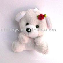plush&stuffed dog keychain with flower,cute small baby animal toy