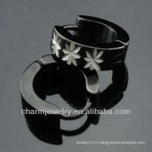 Boucles d'oreilles rondes Huggie Men Black Boucles d'oreilles à bijoux de mode HE-097